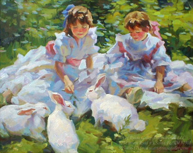 Shapovalenko - Girls With Bunnies - Sold